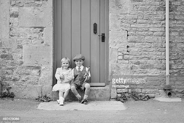 Young British Boy and Girl With Union Jack