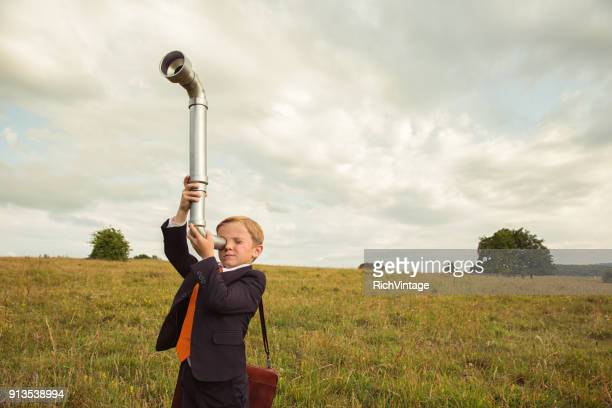 Young British Business Boy with Periscope