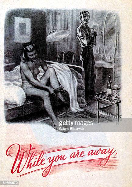 A young British woman gets dressed after a night of passion with an American soldier during World War II above the words 'While you are away' August...