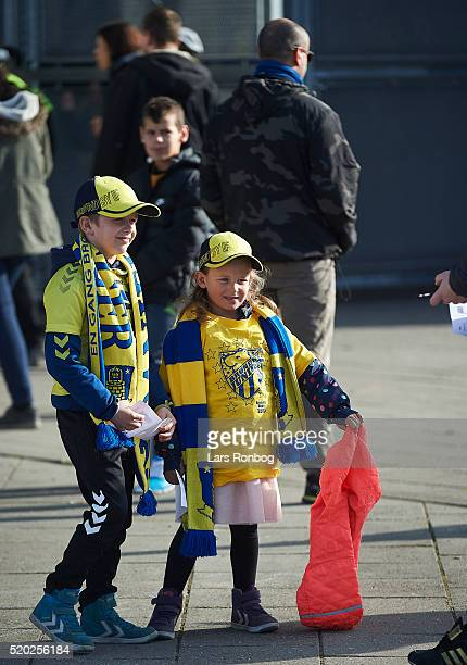 Young Brondby fans waiting outside the stadium prior to the Danish Alka Superliga match between Brondby IF and OB Odense at Brondby Stadion on April...