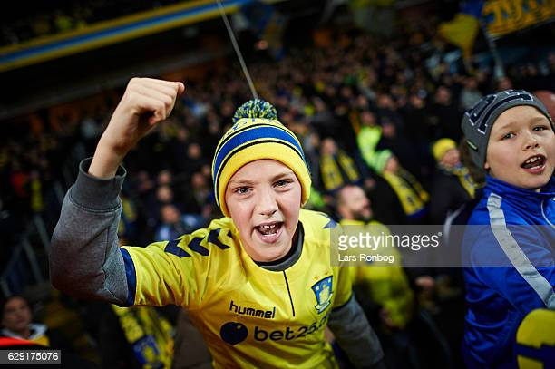 A young Brondby IF fan celebrates after the Danish Alka Superliga match between Brondby IF and FC Midtjylland at Brondby Stadion on December 11 2016...