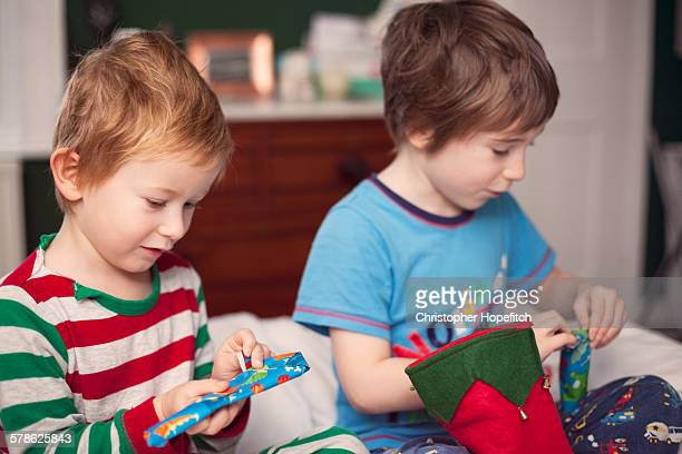 Young brothers opening Christmas presents