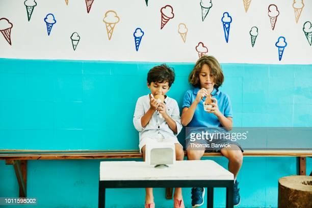 Young brothers sitting in ice cream shop enjoying ice cream