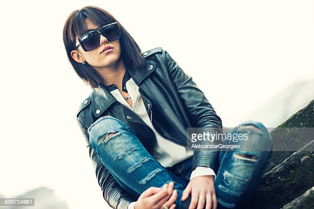 Young Brunette and Fashion Girl Posing with Sunglasses