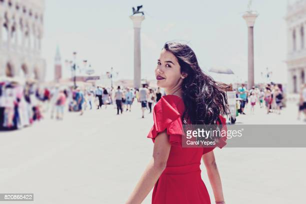 young brunette woman ctourist in venie - italian culture stock photos and pictures
