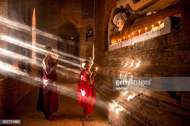 young buddhist monks in myanmar - incense stock photos and pictures