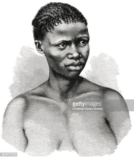 Young Bushman Woman Lake Ngami Region Botswana Africa Illustration 1885