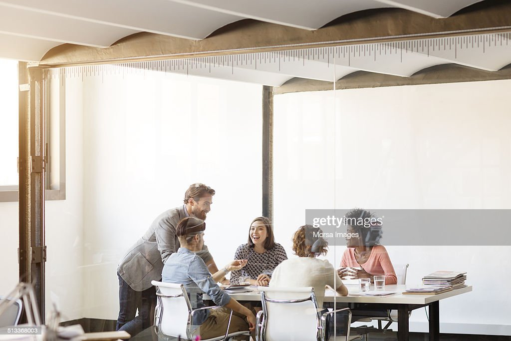 Young business colleagues in board : Foto de stock