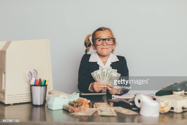 Young Business Girl Working at Office Desk