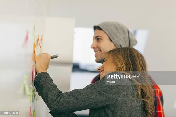 young business people brainstorming in their office. - linkshandig stockfoto's en -beelden