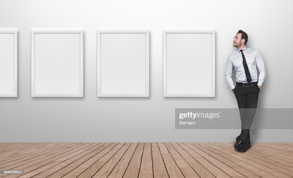Young Business Person Looking Blank Picture Frames Stock Photo ...
