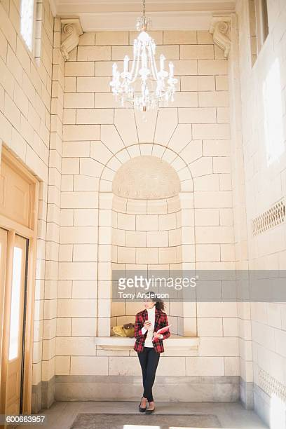 young business woman in elegant building - flat shoe stock pictures, royalty-free photos & images