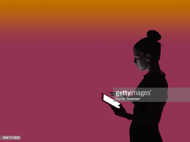 young business woman in siloette - touch sensitive stock pictures, royalty-free photos & images