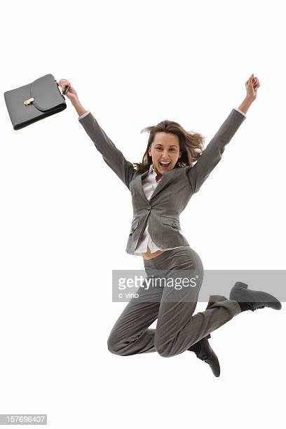 ジャンプ若いビジネス女性
