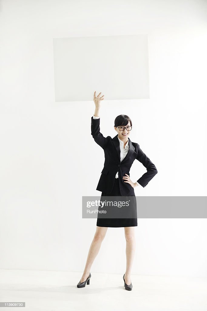 young business woman with a panel : Stock Photo