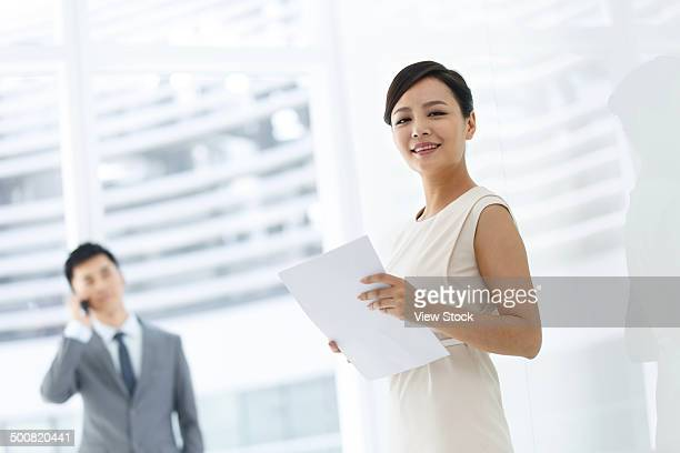Young businessman and businesswoman