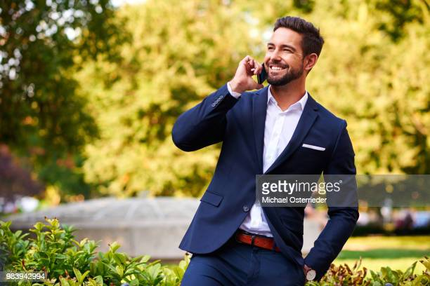 Young businessman at a park