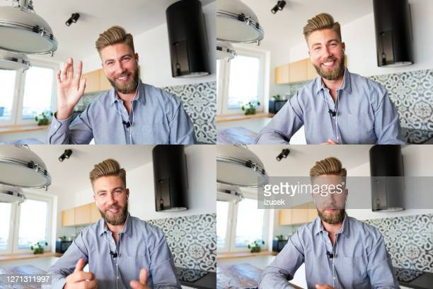 young businessman during video call - talking stock pictures, royalty-free photos & images