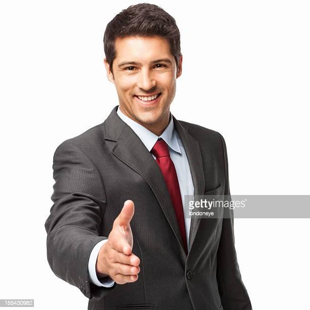 Junger Geschäftsmann, die sich für die Hände schütteln-isoliert