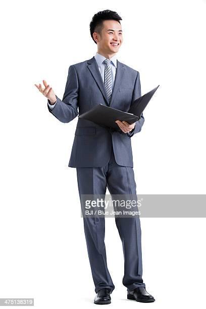 Young businessman giving a speech