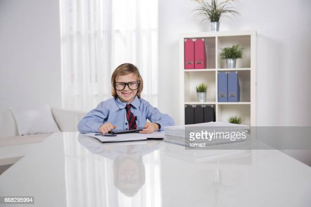 Young businessman in his 'office'
