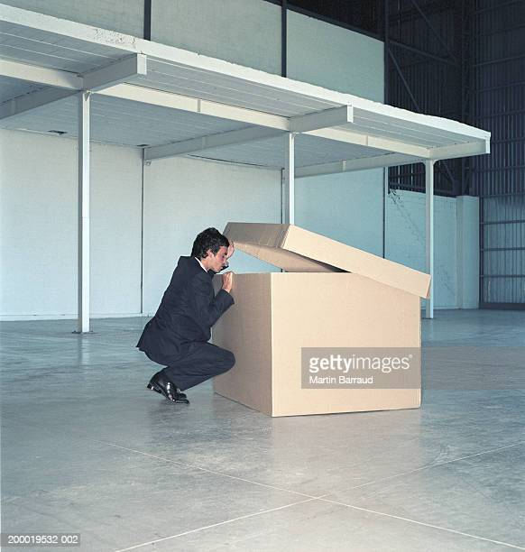 Young businessman peering into large cardboard box