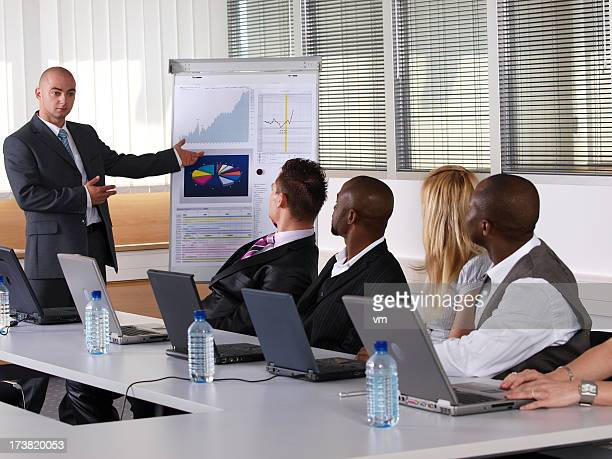 Young businessman presenting his ideas on flip chart to colleagues