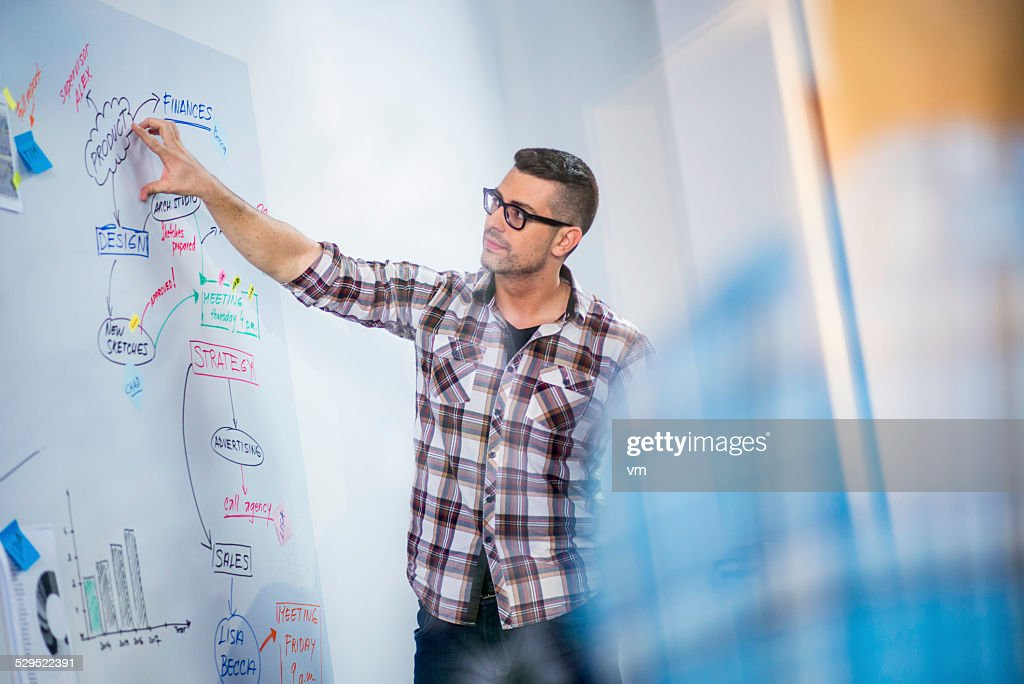 Young Businessman Presenting His Ideas to Colleagues : Stock Photo