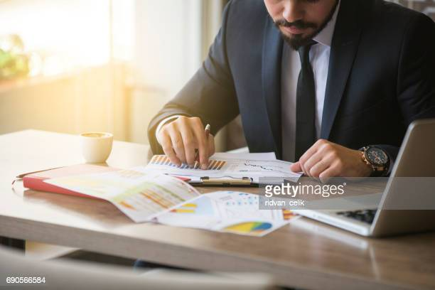 young businessman showing graphs by pen - finanza foto e immagini stock