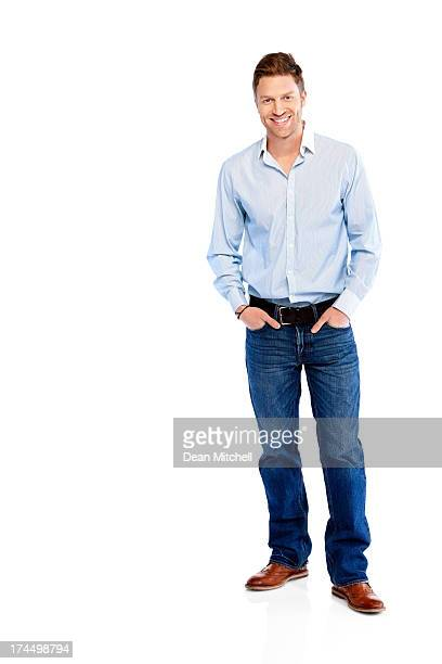 Young businessman standing casually on white