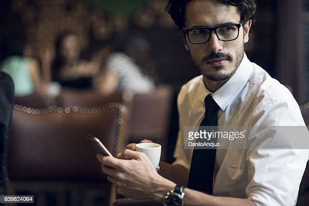 young businessman taking a break from work