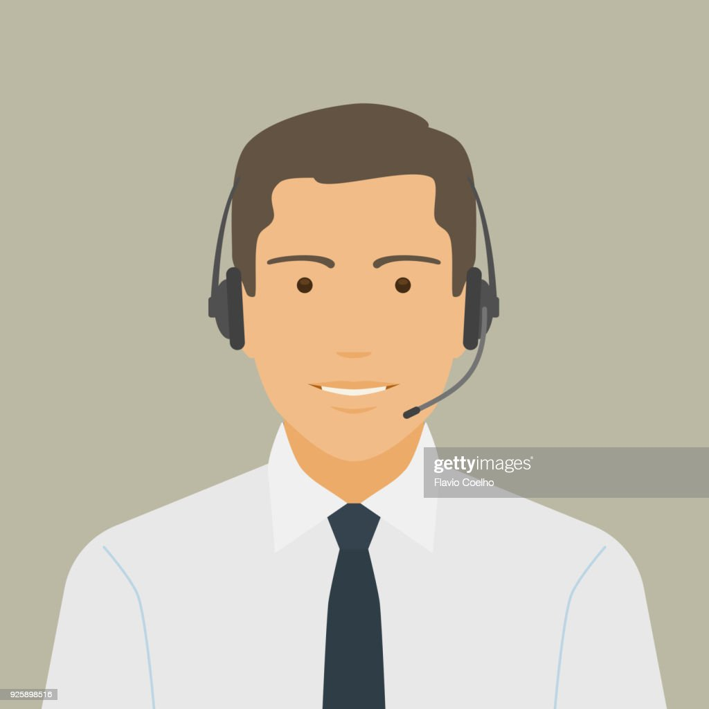 Young businessman wearing a headset illustration : Stock Photo