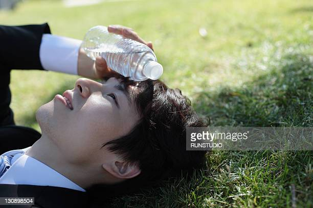young businessman with a water bottle