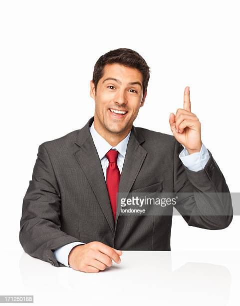 young businessman with an idea - isolated - index finger stock pictures, royalty-free photos & images