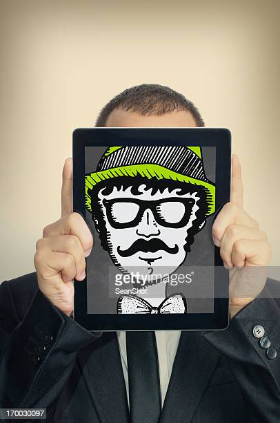 Young Businessman With Hipster illustration in a Digital Tablet