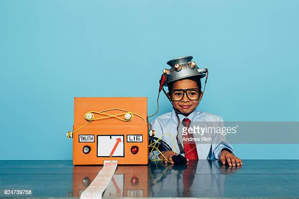 Young Businessman with Homemade Lie Detector