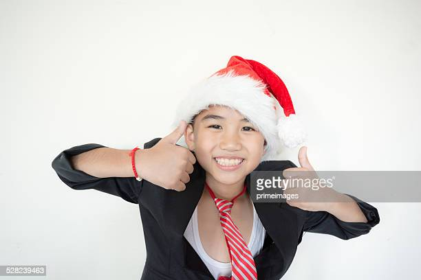 Young businessman with santa hat