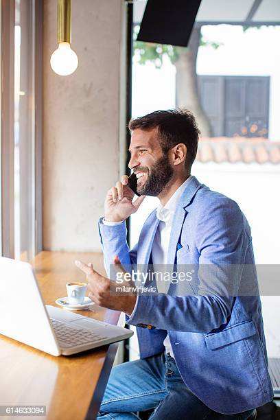 Young businessman working on a coffee break