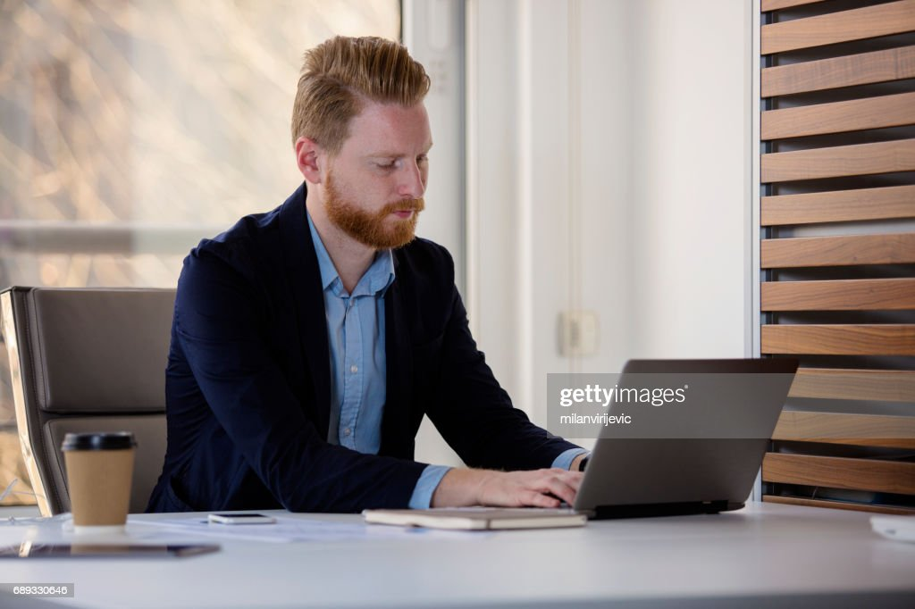 Young businessman working on laptop : Stock Photo