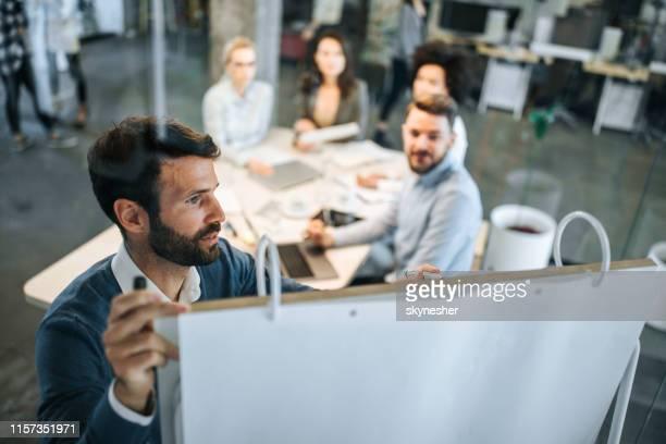 young zakenman schrijft ideeën op whiteboard tijdens een ontmoeting met zijn collega's. - netjes informeel stockfoto's en -beelden
