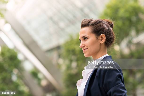 Young businesswoman at Broadgate Tower, London, UK