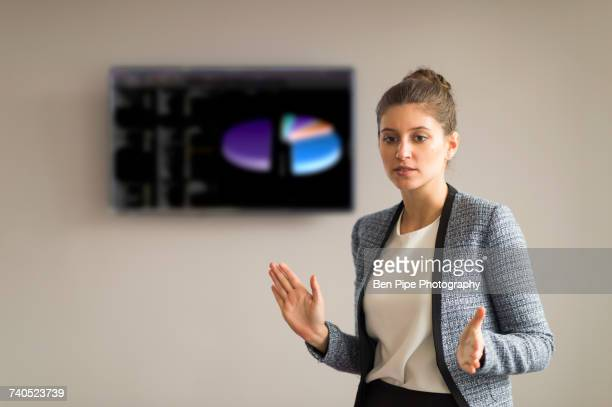 Young businesswoman explaining during office presentation