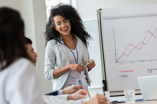 Young businesswoman gives presentation to colleagues 1125741541
