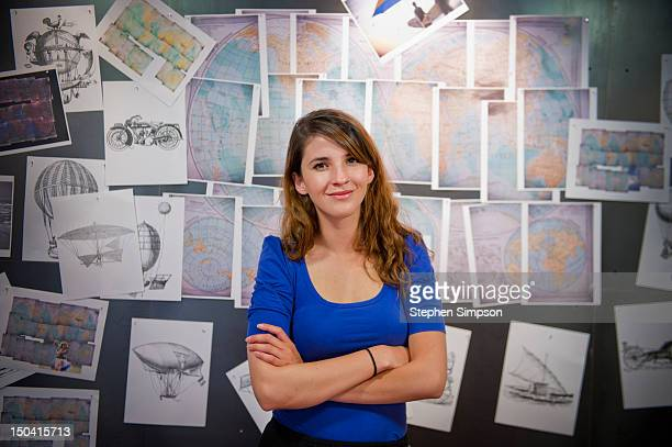 young businesswoman, graphic design office