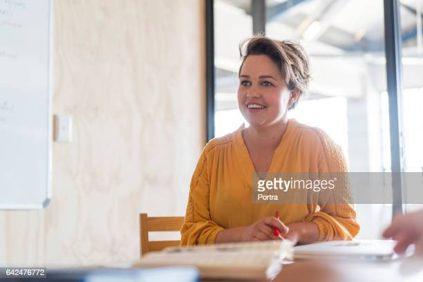 Young businesswoman in meeting room