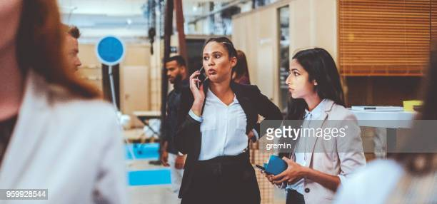 Young businesswoman on the phone in the office