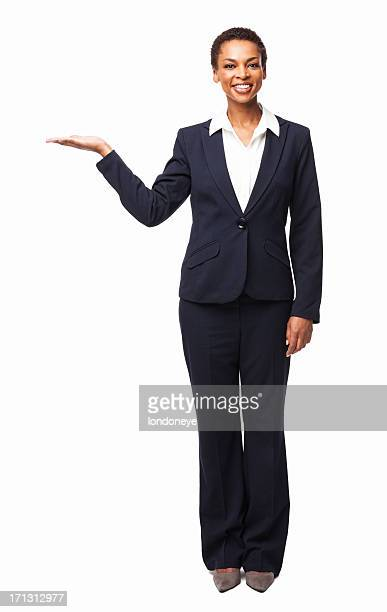 Young Businesswoman Presenting a Product - Isolated