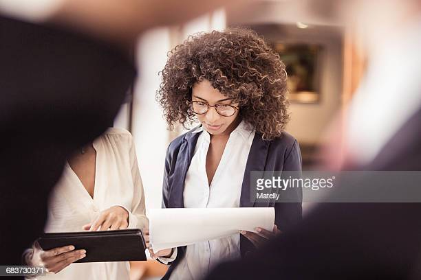 young businesswoman reading paperwork in office - bureaucracy stock pictures, royalty-free photos & images