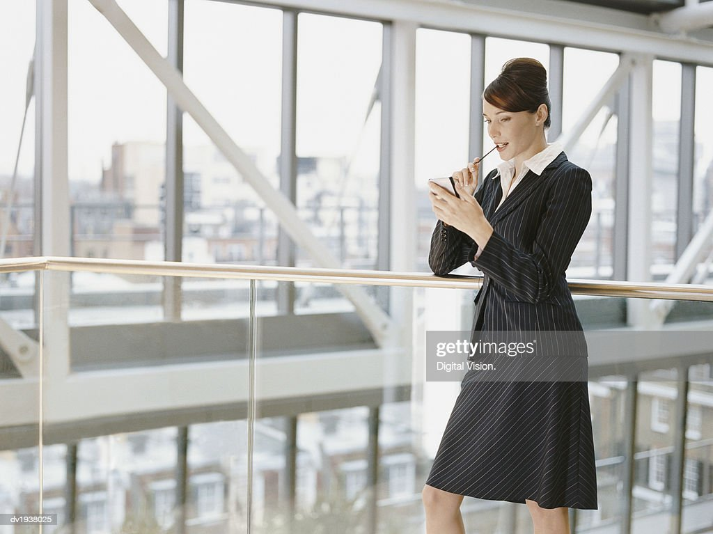 Young Businesswoman Stands on a Walkway, Using a Handheld PC : Stock Photo