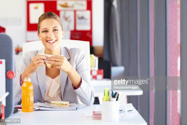 Young Businesswoman Taking a Lunch Break
